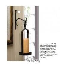 2 Wall Candle Holder Sconce Pair Pillar Mount Black Iron Hurricane Glass  Hanging