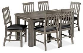 7 piece black dining room set. Dining Room Furniture - Treadway 7-Piece Set Slate And Black 7 Piece E
