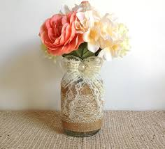 Decorative Jars And Vases Burlap and lace covered mason jar vases wedding decoration 28