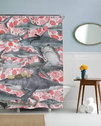 charming shark shower curtain 136 shark shower curtain hooks jaws shower curtain thumbnail