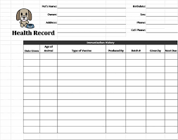 Printable Immunization Record Chart Pin On Pets