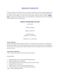 Dance Resume Objective Professional Resume Templates