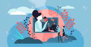 Live Video Vector Illustration. Flat Tiny TV Media Stream Persons Concept.  Online Entertainment And News Channel Occupation And Profession. Record  Broadcast And Play Program On Television Network. Royalty Free Cliparts,  Vectors, And