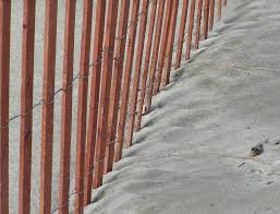 image of wood snow fence simple