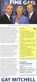 Presidential Election Leaflet From Gay Mitchell – Fine Gael -2011 ...