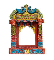 saarthi decorative wooden rajasthani jharokha photoframe with antique finish for wall decor home decor gifts splendid wooden carved peacock
