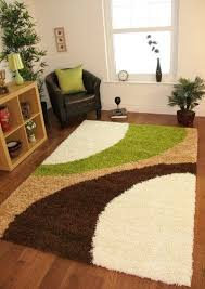 Helsinki 1960 Cream, Lime Green Brown Modern Next Style Cheap Shaggy Rugs -  5 Sizes