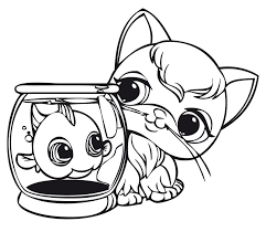Small Picture Littlest pet shop coloring pages fish and kitten ColoringStar