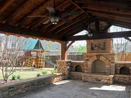 fireplace covered patio