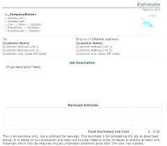 Work Estimate Templates Work Estimate Template Itemized Quote Free