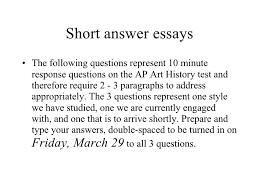 short answer essays short answer essays <ul><li>the following questions represent 10 minute response