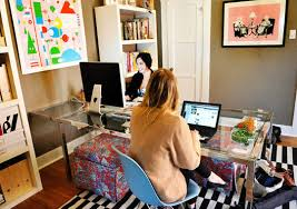 apartment home office. Online Art Gallery Owner Sonja Teri\u0027s Los Angeles Apartment Uses Light-blue  Eames Molded Plastic Side Chairs With Wire Bases On Opposite Sides And Ends Of A Home Office C