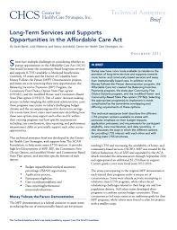 Long Term Services And Supports Opportunities In The