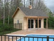 Free Cabana Plan  Storage Shed Plans  Pool House Plans quot    DIY    Pool House Shed   porch and sliding glass doors