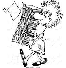 Vector Of A Cartoon Businesswoman Carrying