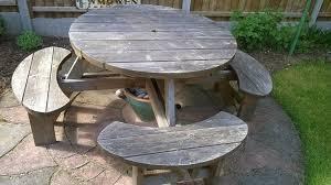 round garden picnic bench table