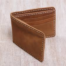 classic light brown men s leather bifold wallet natural balance