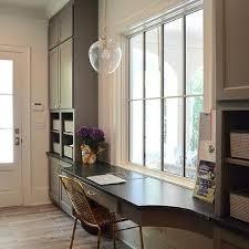 Katie Pendant with Acorn Glass Over Gray Built In Desk