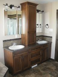 double sink and vanity. double sink vanity with storage tower #bathroom #vanity and