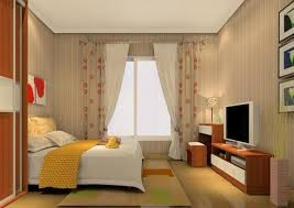 modern bedroom with tv. 3D Rendering Of Curtains And TV Cabinet Modern Bedroom With Tv