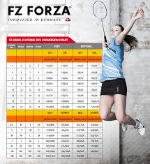 Victor Badminton Shoes Size Chart Forza Apparel Size Chart My Badminton Store