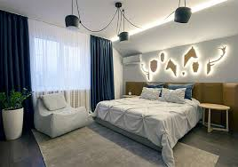 Contemporary Bedroom Design In Blue And Beige