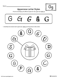 Uppercase Letter G Styles Worksheet