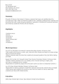 Resume Templates: Grocery Clerk