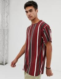 Cloth Design Images For Man New Look Oversized Vertical Stripe T Shirt Brown Newlook