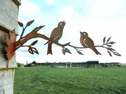 metal garden art for rusty birds on a branch bird wall bir