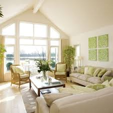 Vaulted Ceiling Living Room Decorative Green Floral Painting For Elegant Living Room Ideas