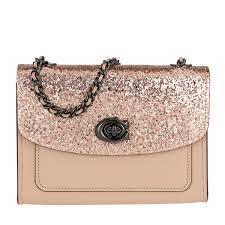 COACH. Women s Glitter Blocked Parker 18 Shoulder Bag Nude Pink