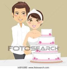 cutting the wedding cake clipart. Unique Clipart Bride And Groom Happily Cutting The Wedding Cake With A Knife On Cutting The Wedding Cake Clipart O