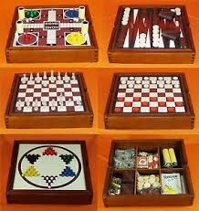 Old Wooden Board Games Exquisite Vintage Wooden Game Chest Box Parcheesi Backgammon 8