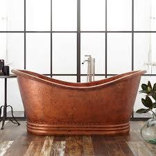 paige hammered copper double slipper tub mottled auburn