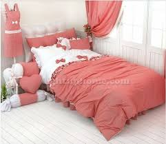 Red And White Girls Princess Pastoral Ruffled Bowtie Bedding
