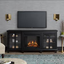 freestanding electric fireplace tv stand in black