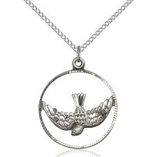 holy spirit as a dove medal pendant