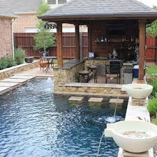 Backyard Designs With Pool And Outdoor Kitchen Delectable 48 Fabulous Small Backyard Designs With Swimming Pool Favorite