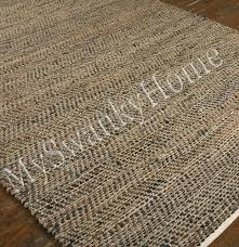 woven leather rug hand reclaimed espresso cleaning area