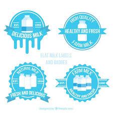 Label Design Free Collection Of Round Milk Stickers Free Vector Label Design