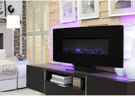 wall mount electric fireplace glass curved front programmable thermostat heater