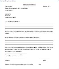 Employee Discipline Letter Disciplinary Meeting Warning