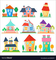 Cute Cartoon Houses Collection Funny Colorful Kid