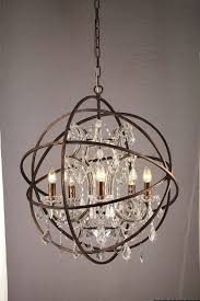 amazing design ideas orb crystal chandelier 30 restoration hardware replica foucault s bronze image is loading 034 039