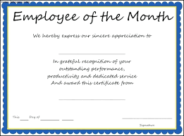 Performance Certificate Sample 038 Template Ideas Word Award Templates Employee The Month