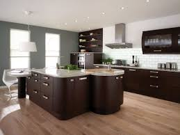 Great White Grey And Brown Kitchen With Brown Cabinet Big Countertop