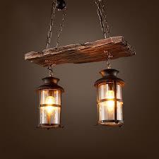 industrial rustic 2 light wood beam antique black metal glass lantern pendant light