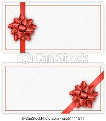 Holiday Gift Card Template Set Of White Holiday Gift Card With Red Ribbon And Bow Template For
