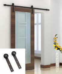 8 ft black sliding barn door hardware kit solid country antique style home decor